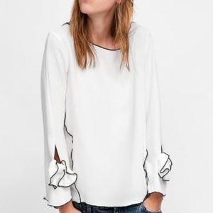 Zara Top with Contrasting Piping Size Large NWT